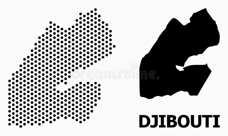 Dot Mosaic Map of Djibouti. Pixelated map of Djibouti composition and solid illustration. Vector map of Djibouti composition of round items with honeycomb royalty free illustration