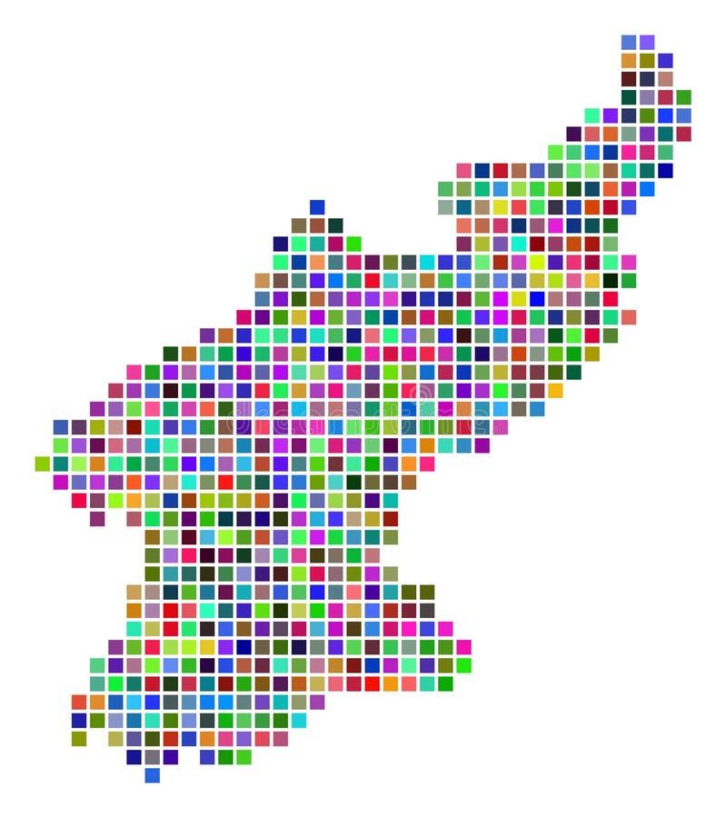 Dot North Korea Map multicolore illustration de vecteur