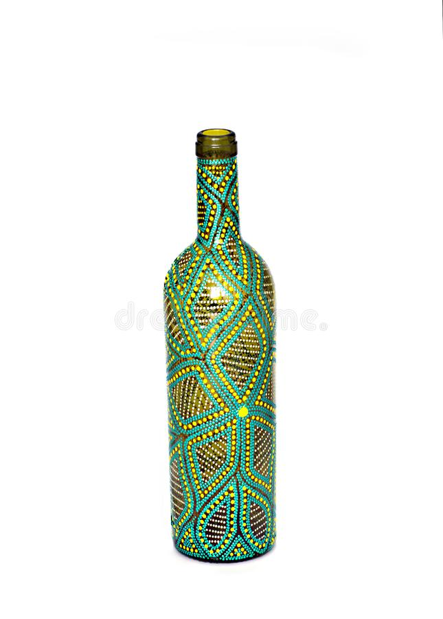 Dot painting. bottle painted with paints. very nice decor. isolate. Dot painting. bottle painted with paints. very nice decor.isolate. handmade stock image