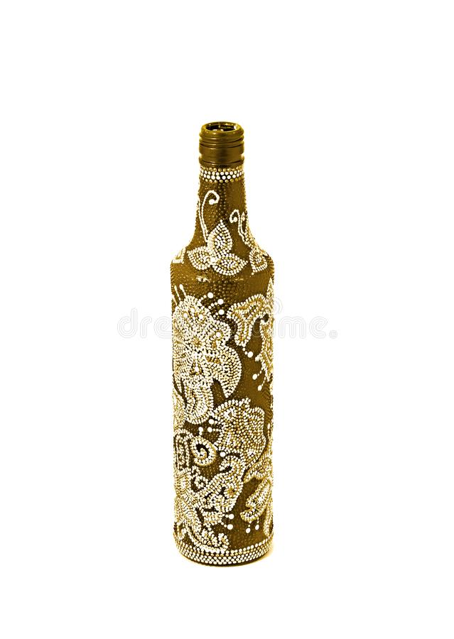 Dot painting. bottle painted with paints. very nice decor. isolate. Dot painting. bottle painted with paints. very nice decor.isolate. handmade stock photography