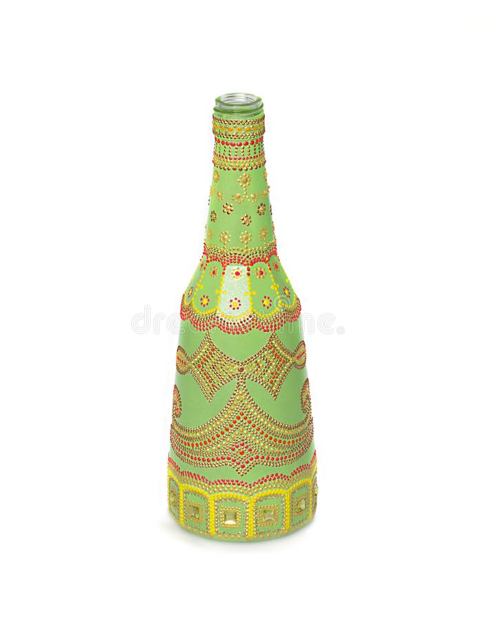 Dot painting. bottle painted with paints. very nice decor. isolate. Dot painting. bottle painted with paints. very nice decor.isolate. handmade stock photo