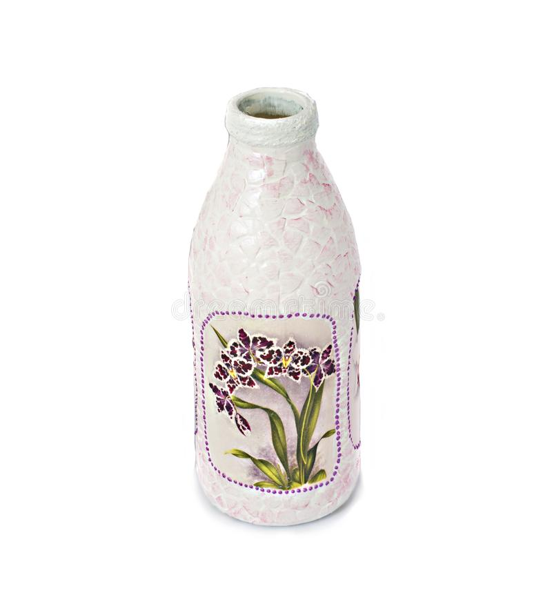 Dot painting. bottle painted with paints. very nice decor. isolate. Dot painting. bottle painted with paints. very nice decor.isolate. handmade stock images