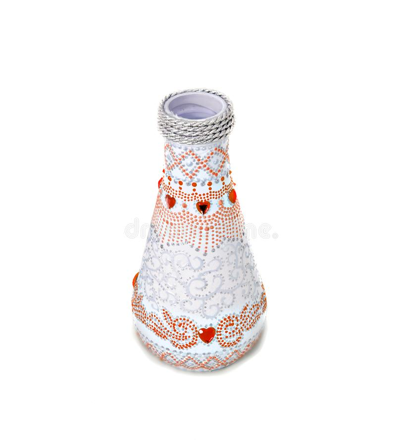 Dot painting. bottle painted with paints. very nice decor. isolate. Dot painting. bottle painted with paints. very nice decor.isolate. handmade stock photos