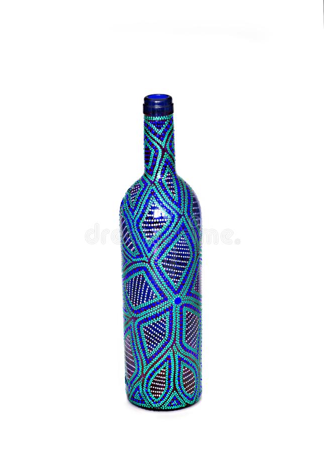 Dot painting. bottle painted with paints. very nice decor. isolate. Dot painting. bottle painted with paints. very nice decor.isolate. handmade royalty free stock image