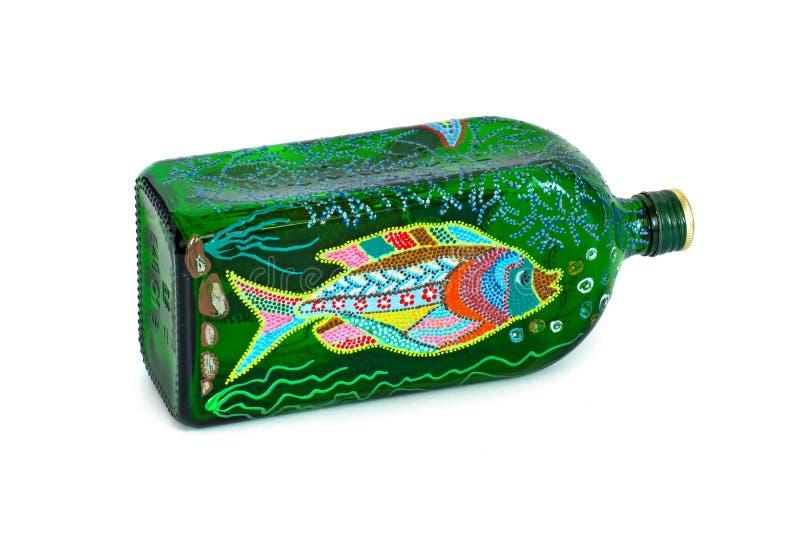 Dot Painting flaska som målas med målarfärger mycket trevlig dekor isolate arkivfoto