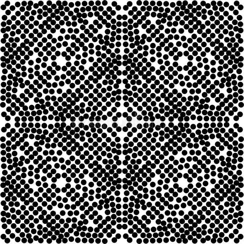 Dot Pattern inconsútil negro en cuadrado y en un circul grande con el fondo blanco stock de ilustración