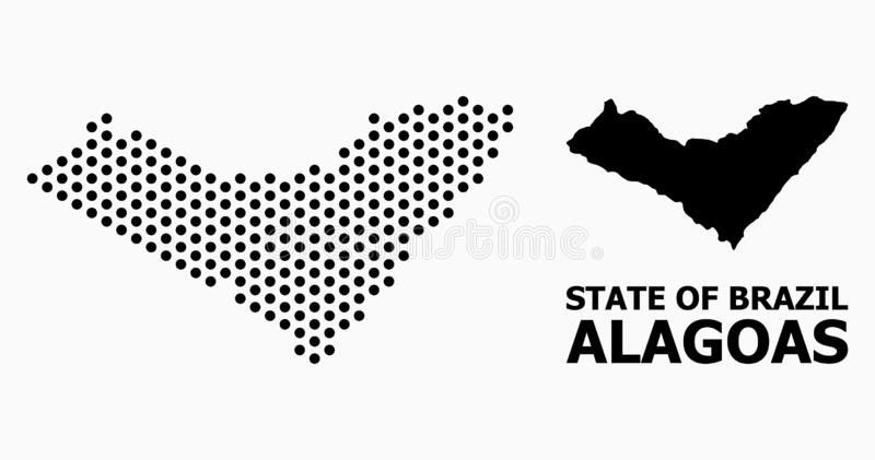Dot Pattern Map of Alagoas State. Pixel map of Alagoas State composition and solid illustration. Vector map of Alagoas State composition of spheric dots with royalty free illustration