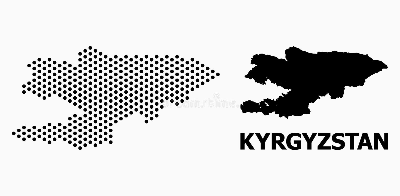Dot Pattern Map van Kyrgyzstan royalty-vrije illustratie