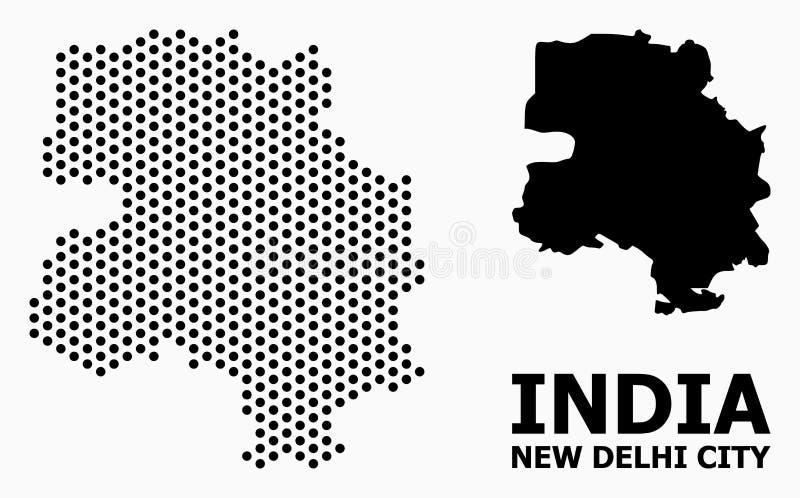 Dot Pattern Map von Neu-Delhi Stadt stock abbildung