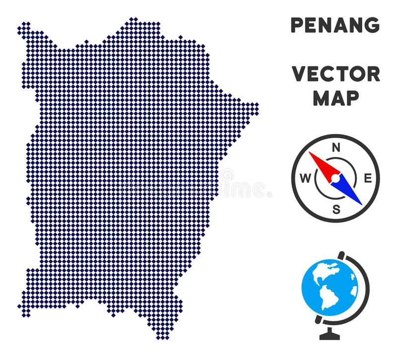 Dotted Penang Island Map. Dot Penang Island map. Abstract territory scheme. Pixels have rhombic shape and dark blue color. Vector pattern of Penang Island map stock illustration