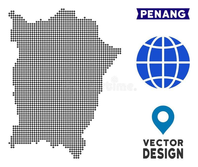 Dot Penang Island Map. Vector territorial plan in dark gray color. Pixels have rhombus shape royalty free illustration