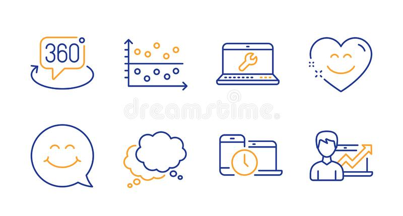 Dot plot, Speech bubble and Smile face icons set. Smile chat, Time management and 360 degree signs. Vector. Dot plot, Speech bubble and Smile face line icons set royalty free illustration