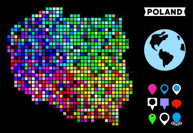 Dot Poland Map colorato royalty illustrazione gratis