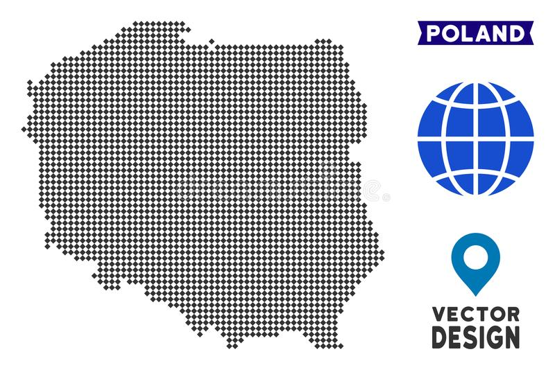 Dot Poland Map. Vector geographic scheme in dark gray color. Points have rhombus form royalty free illustration