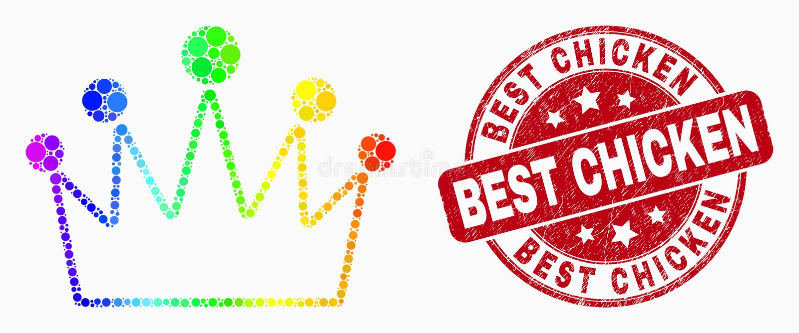 Vector Rainbow Colored Pixel Crown Icon and Distress Best Chicken Watermark vector illustration