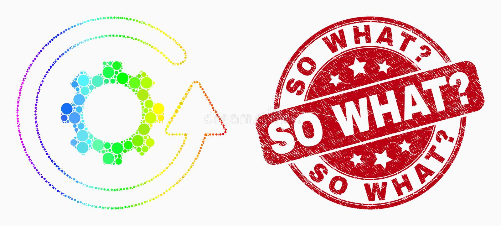 Vector Rainbow Colored Pixelated Gear Rotation Icon and Grunge So What Question Seal vector illustration