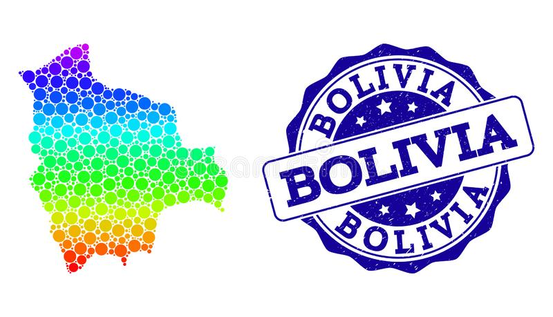 Dot Spectrum Map of Bolivia and Grunge Stamp Seal royalty free illustration