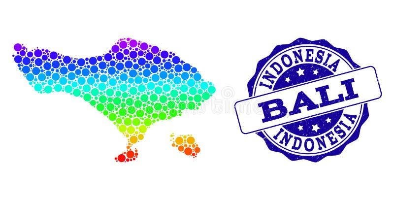 Dot Rainbow Map von Bali-Insel und von Schmutz-Stempelsiegel lizenzfreie abbildung