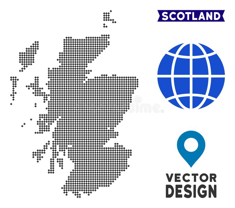 Dot Scotland Map vektor illustrationer