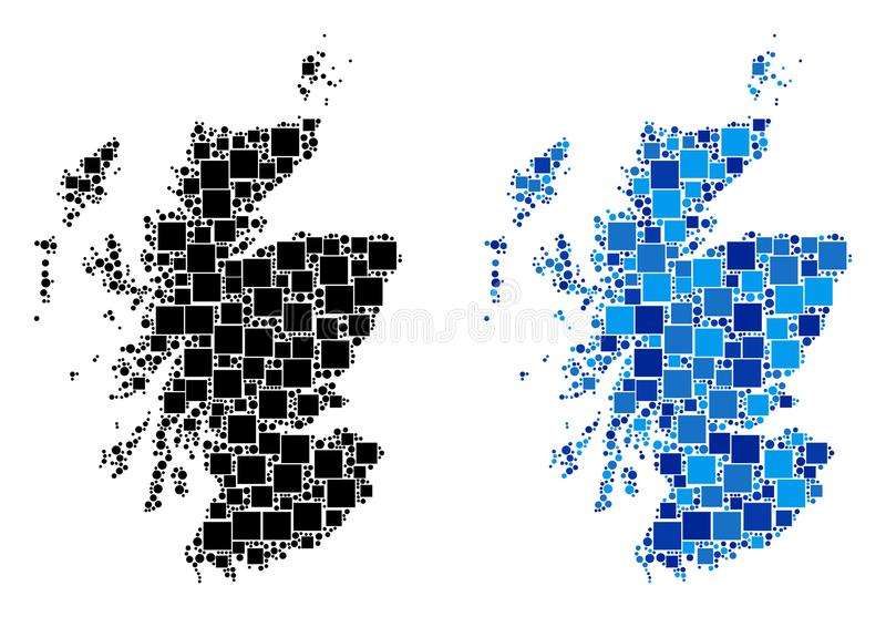 Dot Scotland Map med blå version vektor illustrationer