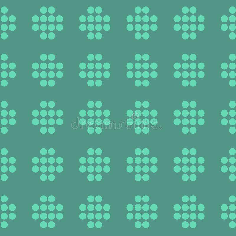 Dot Seamless Pattern Minimal Geometric Background With Small Dots And Circles. Simple Style Design In Green Color. Abstract Repeat Texture vector illustration
