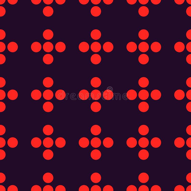 Dot Seamless Pattern Minimal Geometric Background With Small Dots In Red And Dark Purple Colors. vector illustration