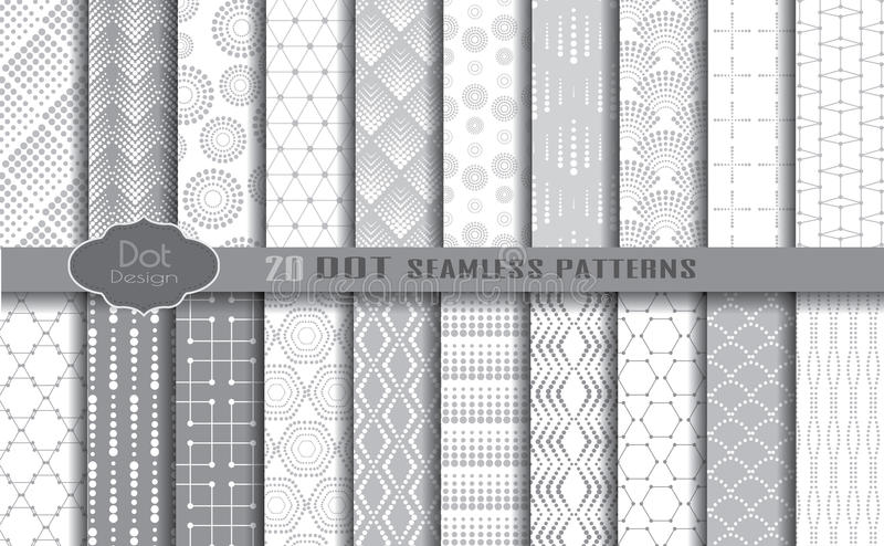 Dot seamless patterns vector illustration