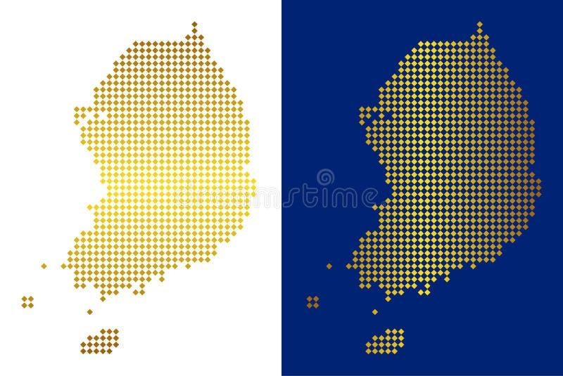 Dot South Korea Map d'or illustration de vecteur