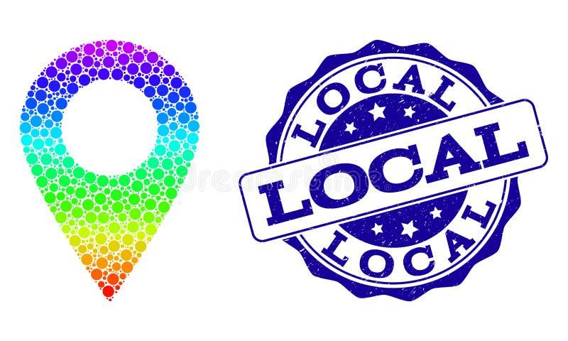 Dot Spectrum Local Place e selo do selo do Grunge ilustração stock