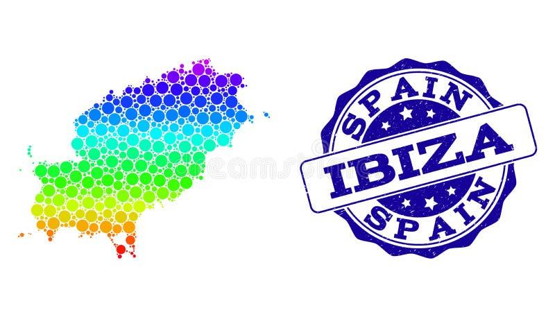 Dot Spectrum Map av den Ibiza ön och Grungestämpelskyddsremsan royaltyfri illustrationer