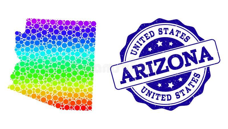 Dot Spectrum Map d'état de l'Arizona et de joint grunge de timbre illustration libre de droits