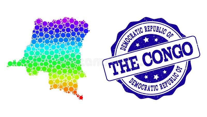 Dot Spectrum Map de República Democrática del Congo y del sello del sello del Grunge ilustración del vector