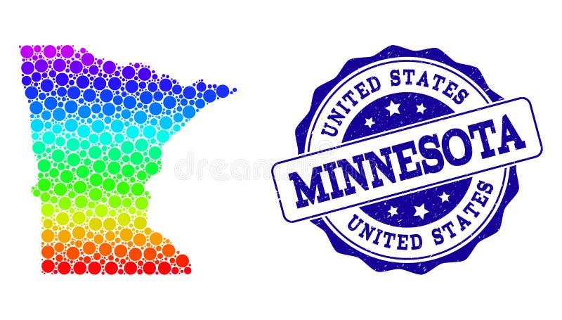 Dot Spectrum Map del estado de Minnesota y del sello del sello del Grunge stock de ilustración