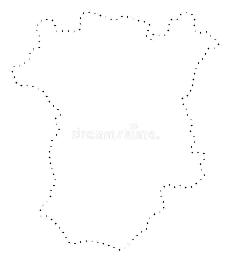Dot Stroke Chechnya Map ilustração do vetor