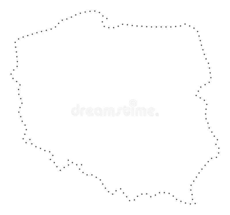 Dot Stroke Poland Map illustrazione vettoriale