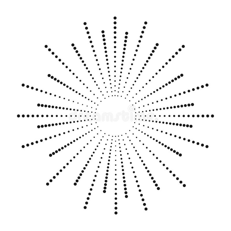 Dot sunburst. Halftone effect beams. Sun ray from points. Abstract dotted background. Vector. stock illustration