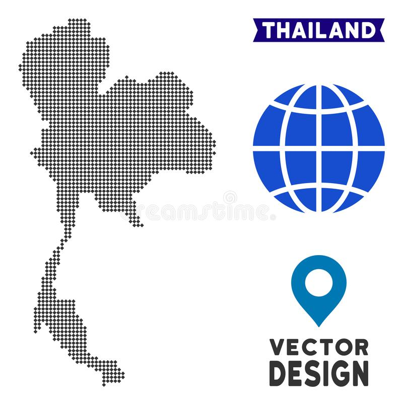 Dot Thailand Map illustrazione di stock