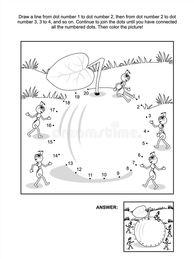 Free Dot-to-dot And Coloring Page - Apple And Ants Royalty Free Stock Photography - 38783927