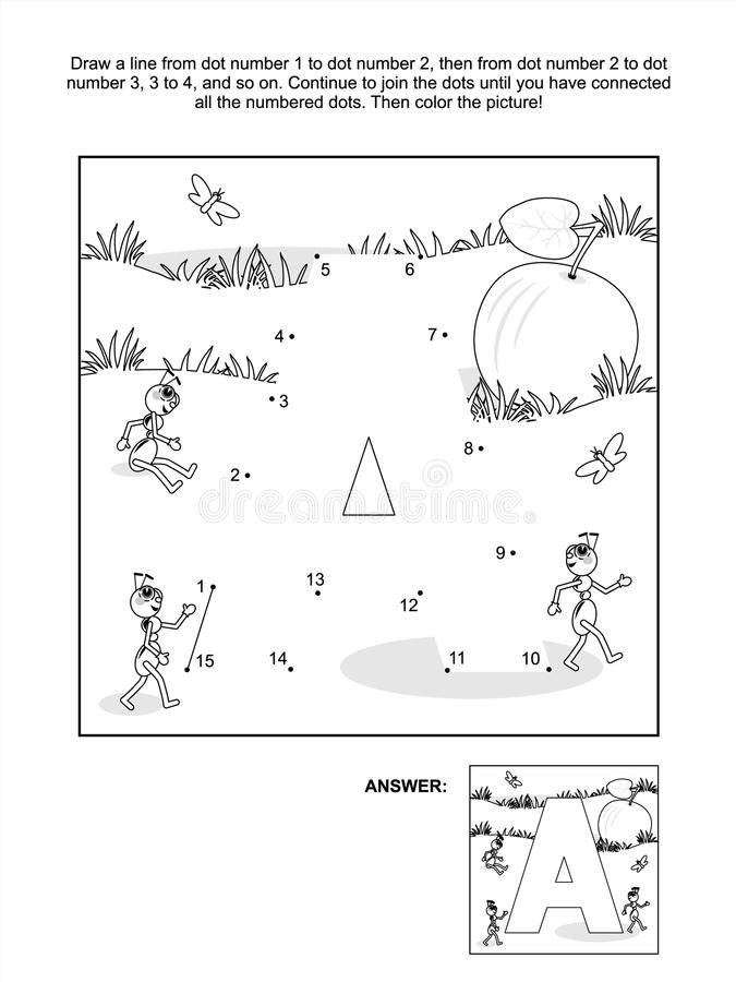 Free Dot-to-dot And Coloring Page - Letter A, Apple And Ants Royalty Free Stock Image - 43137356