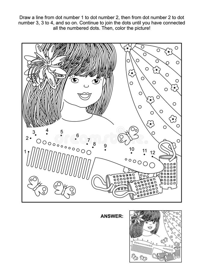 Free Dot-to-dot And Coloring Page With Beatiful Girl Royalty Free Stock Photo - 96188865