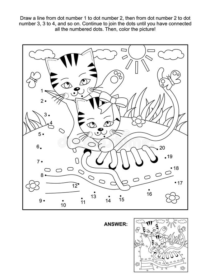 Free Dot-to-dot And Coloring Page With Playful Kittens And Old Shoe Royalty Free Stock Images - 113128629