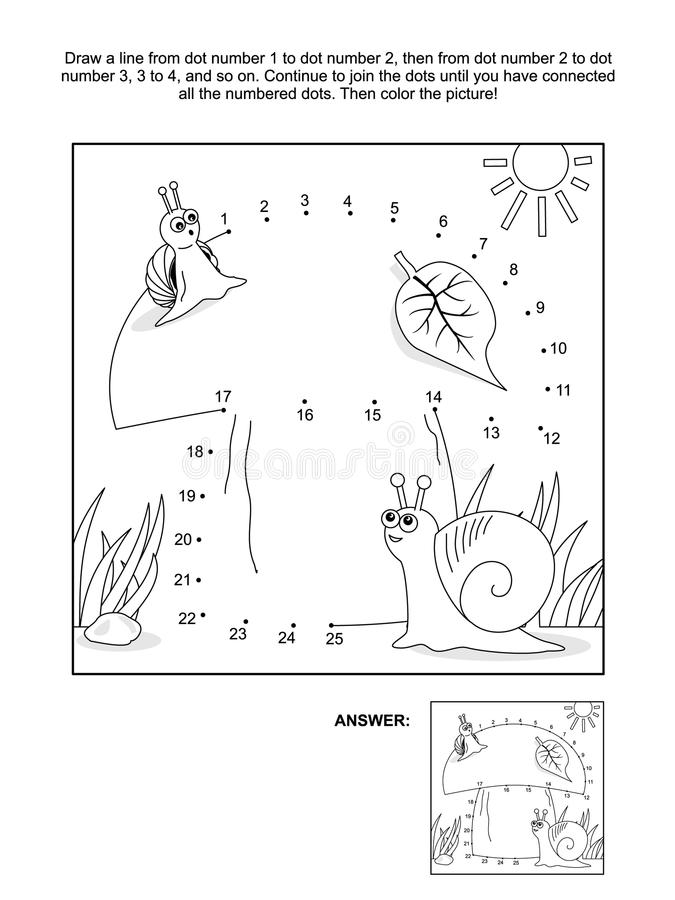 Free Dot-to-dot And Coloring Page With Snails And Mushroom Royalty Free Stock Photo - 96094725