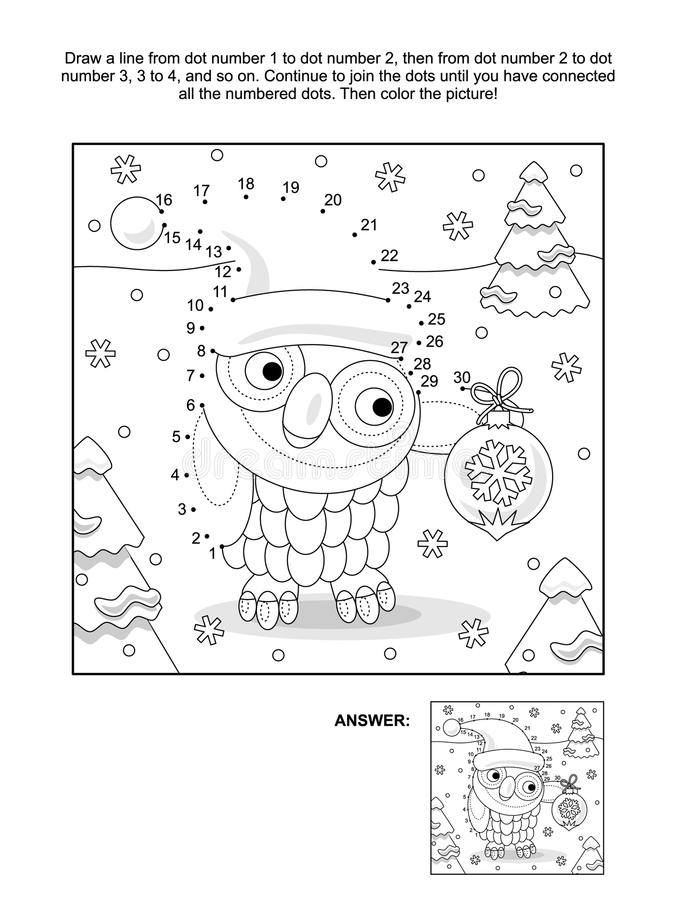 Download Dot To And Coloring Page With Christmas Owl Stock Vector