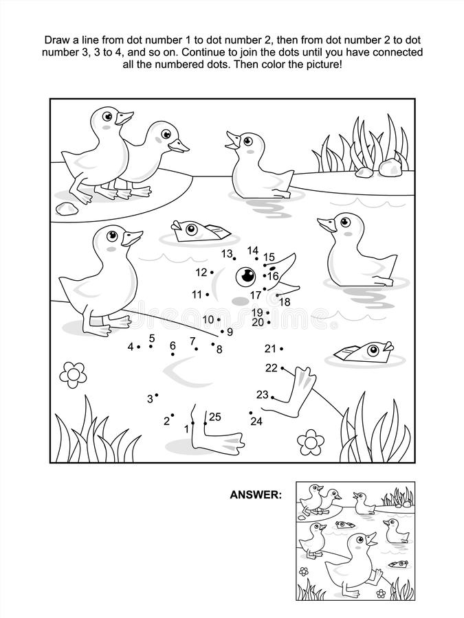 Dot-to-dot And Coloring Page - Ducklings At The Pond Stock Vector
