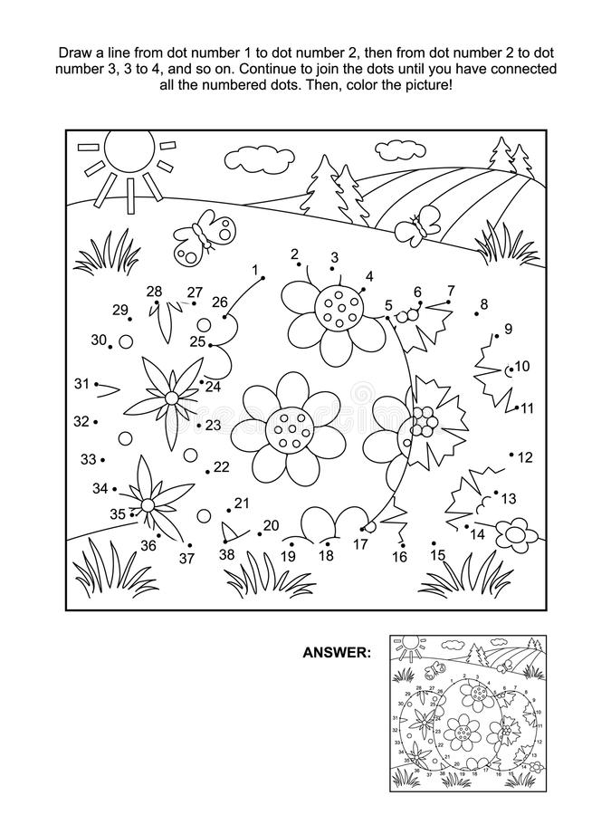 Dot-to-dot and coloring page with 3 Easter eggs vector illustration