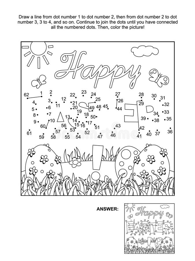 Dot-to-dot and coloring page with Easter greeting royalty free illustration