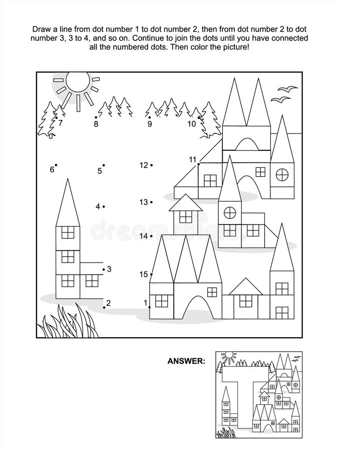 Download Dot-to-dot And Coloring Page - Letter T, Toy Town Stock Vector - Image: 43234601