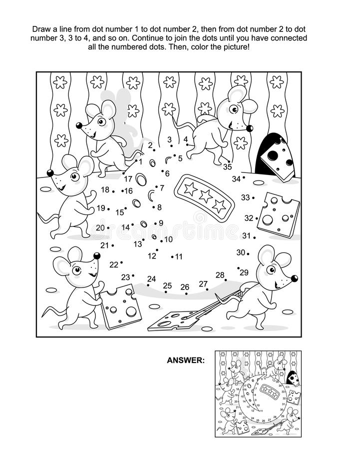 Dot-to-dot and coloring page with mice and cheese. Mice and cheese cartoon connect the dots picture puzzle and coloring page. Answer included royalty free illustration