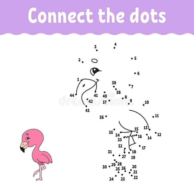 Dot to dot. Draw a line. Handwriting practice. Learning numbers for kids. Education developing worksheet. Activity coloring page. Game for toddler. Isolated vector illustration