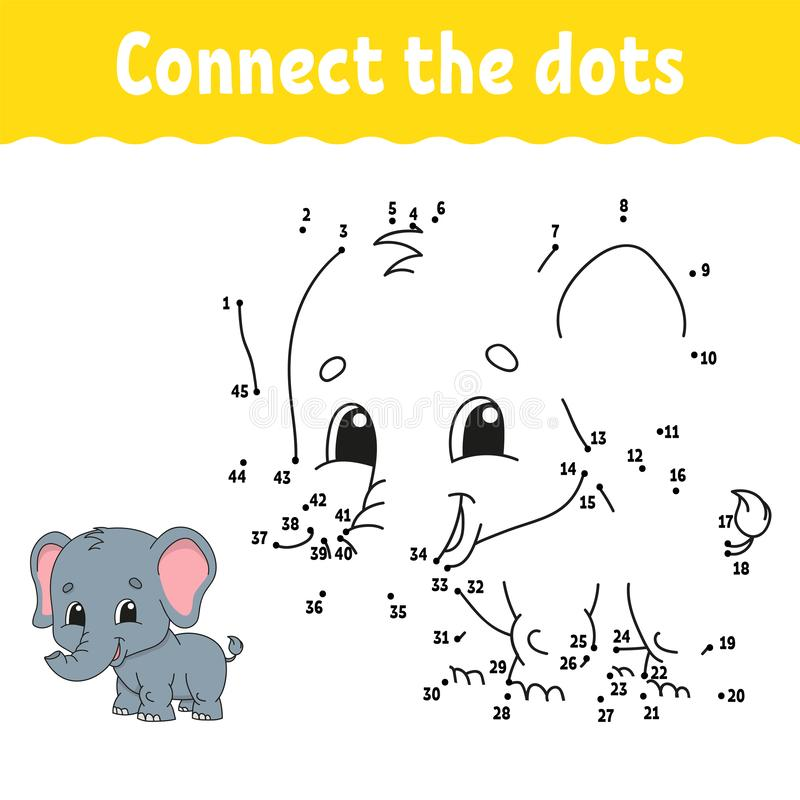 Dot To Dot. Draw A Line. Handwriting Practice. Learning Numbers For Kids.  Education Developing Worksheet. Activity Coloring Page. Stock Vector -  Illustration Of African, Child: 160339675